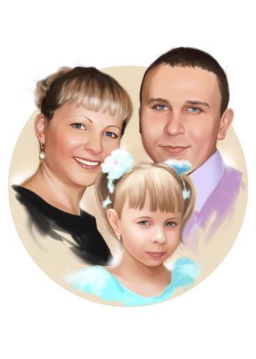 Семейный портрет по фото на холсте в Нижневартовске — правильный подарок!